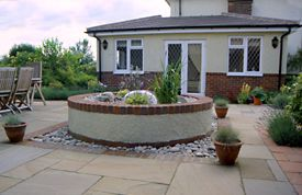 Pool with seating and fountain near Wendover, Bucks